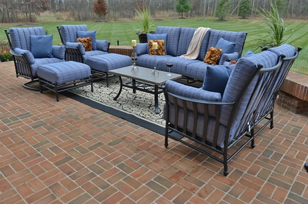 Amia 8-Piece Luxury Cast Aluminum Patio Furniture Deep Seating Set W/Swivel Chairs