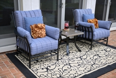 Amia 2-Person Luxury Cast Aluminum Patio Furniture Chat Group W/Stationary Chairs