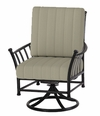The Amia Collection Cast Aluminum Patio Furniture Swivel Dining Chair With Cushion