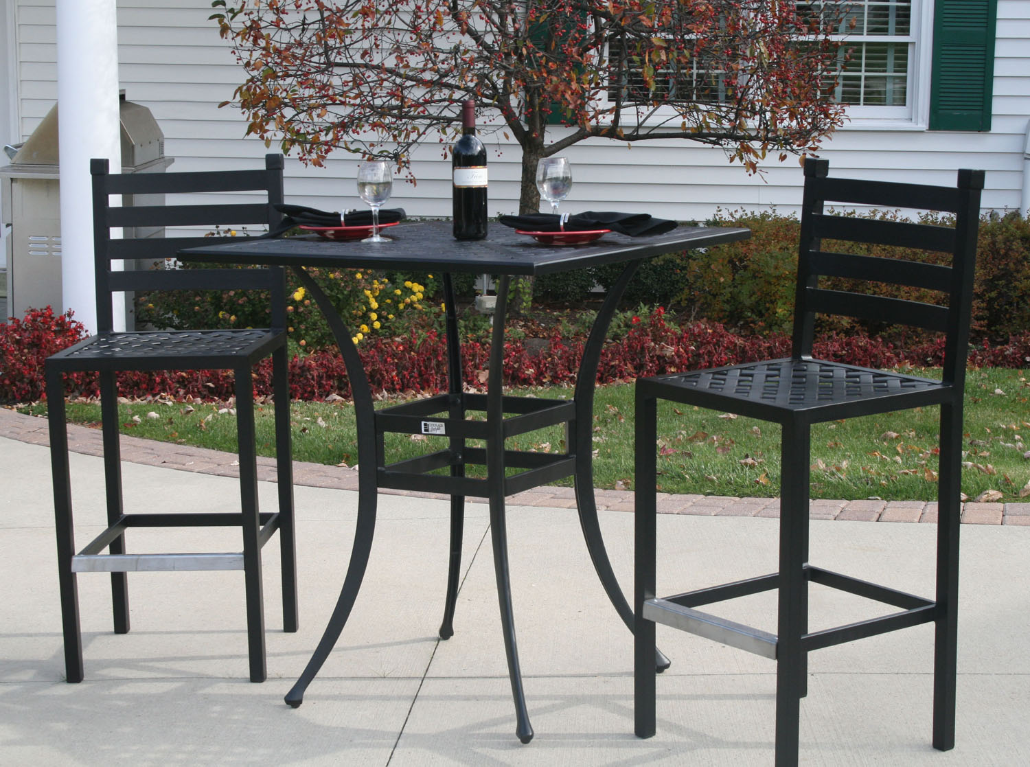 Ansley luxury 2 person all welded cast aluminum patio for Bar height patio furniture