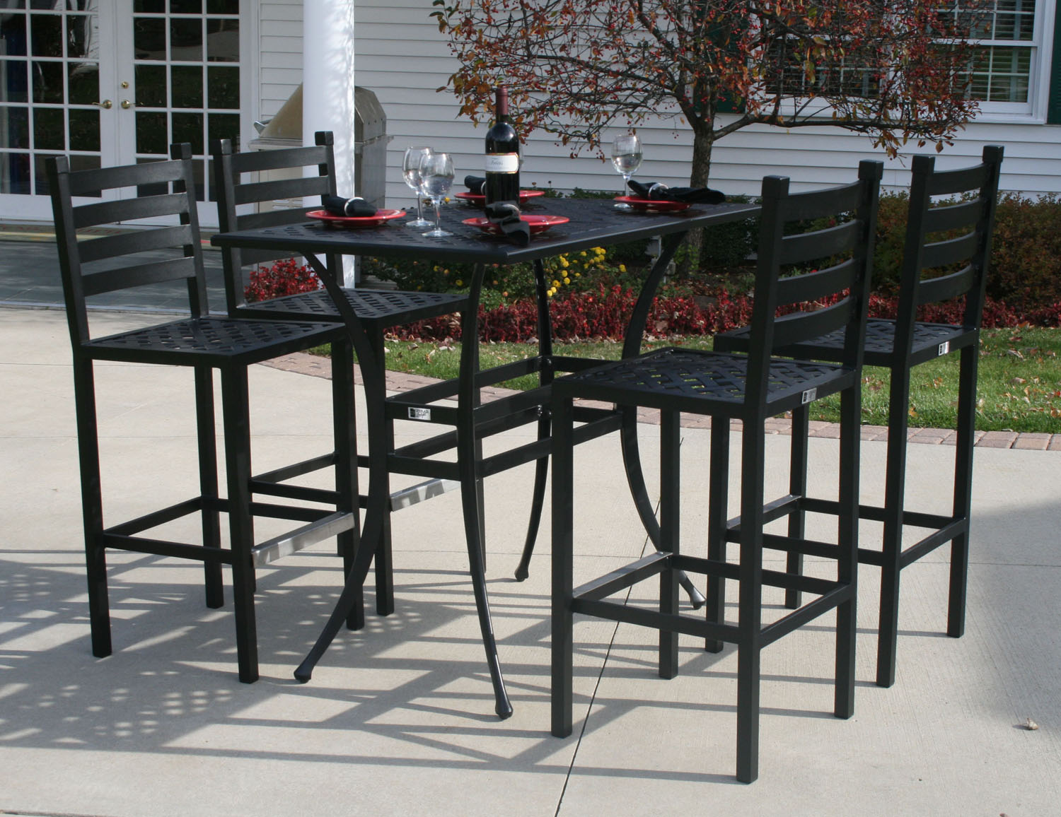 Ansley luxury 4 person all welded cast aluminum patio for Bar height patio furniture