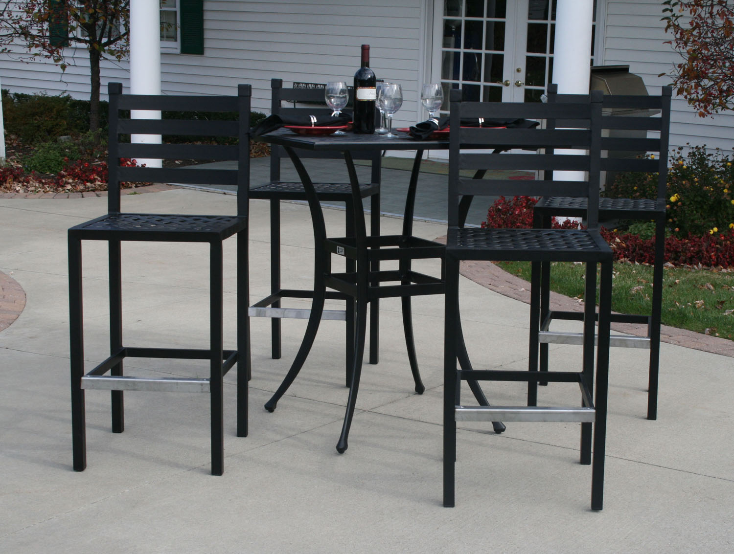 Ansley Luxury 4 Person All Welded Cast Aluminum Patio Furniture Bar Height Set W 36 Square Table