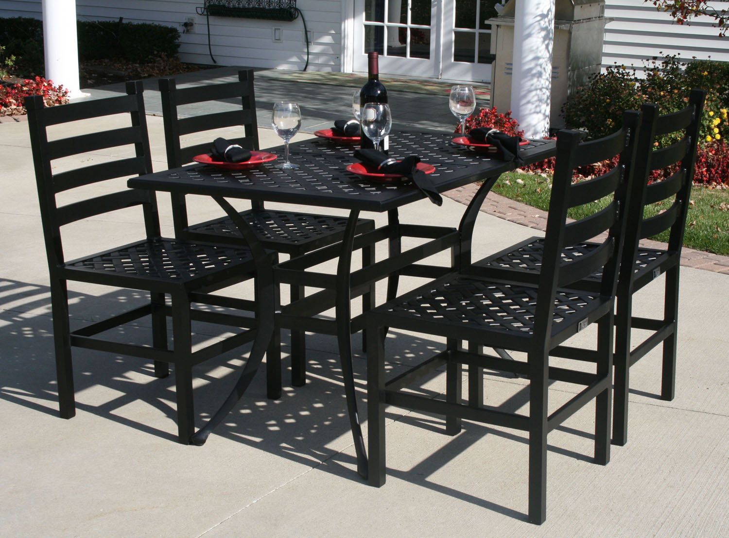 collection garden furniture accessories pictures. Ansley Luxury 4-Person All Welded Cast Aluminum Patio Furniture Dining Set Collection Garden Accessories Pictures M