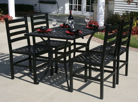 Ansley Luxury 4-Person All Welded Cast Aluminum Patio Furniture Dining Set