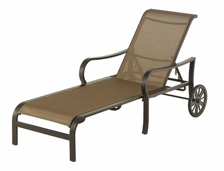The Crestwood Collection By Alu-Mont Cast Aluminum Sling Chaise Lounge