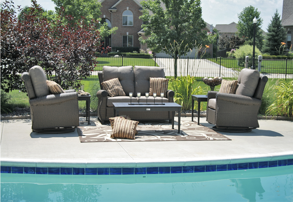 Giovanna luxury 6 piece all weather wicker cast aluminum for All weather outdoor furniture