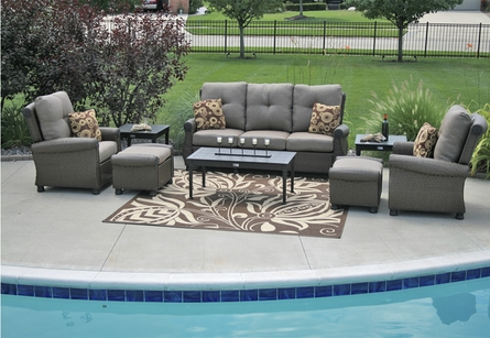 Giovanna Luxury 8-Piece All Weather Wicker/Cast Aluminum Patio Furniture Deep Seating Set
