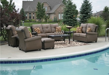 Giovanna Luxury 9-Piece All Weather Wicker/Cast Aluminum Patio Furniture Deep Seating Set