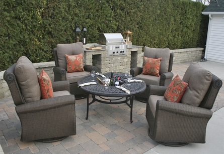 Giovanna Luxury All Weather Wicker/Cast Aluminum Patio Furniture Deep Seating Set