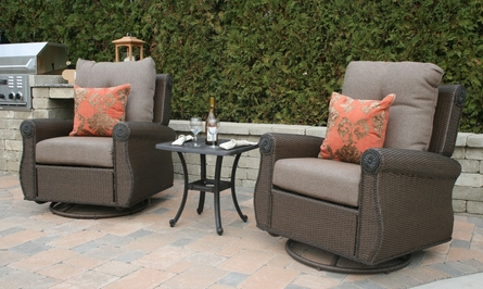 Giovanna Luxury All Weather Wicker/Cast Aluminum Patio Furniture Deep Seating Chat Set