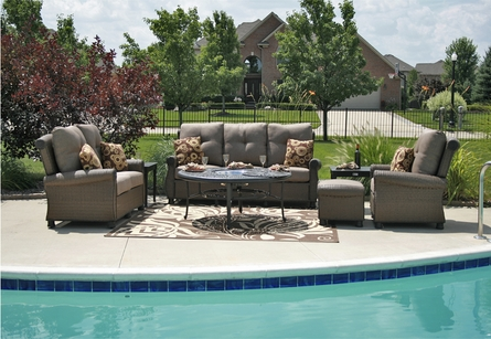 Giovanna Luxury All Weather Wicker/Cast Aluminum Patio Furniture Deep Seating Set/Drink Table