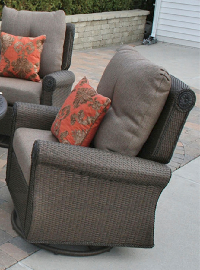 Giovanna Luxury Wicker Cast Aluminum Patio Furniture Deep Seating Set W Swivel Rocking Chairs