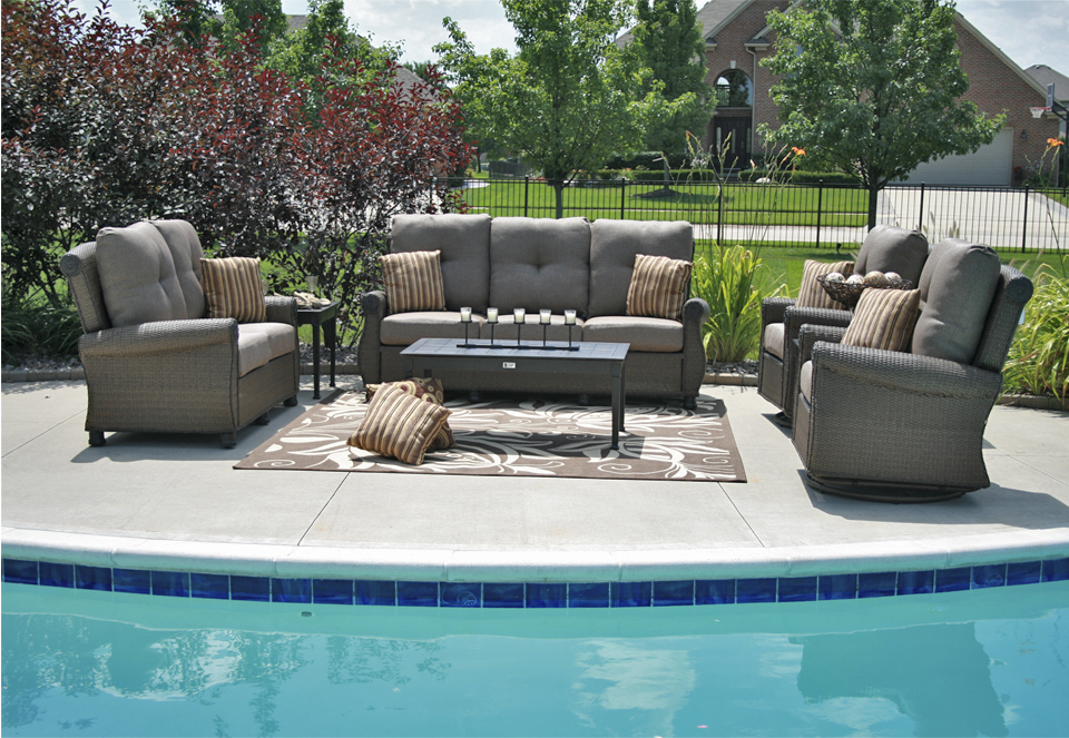 Giovanna Luxury Wicker/Cast Aluminum Patio Furniture Deep Seating Set W/Swivel  Rocking Chairs