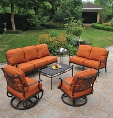 Grand Tuscany 6-Piece By Hanamint Luxury Cast Aluminum Patio Furniture Deep Seating Set
