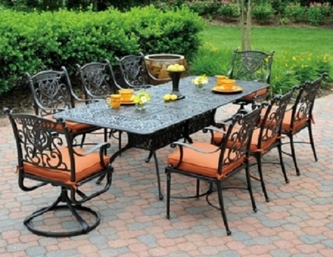 Grand Tuscany By Hanamint 8 Seat Luxury Cast Aluminum Patio Furniture Dining Set