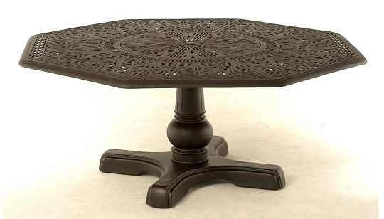 grand tuscany luxury cast aluminum hexagonal dining table. Black Bedroom Furniture Sets. Home Design Ideas