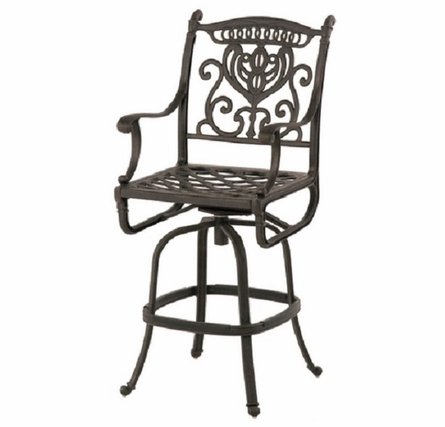 Grand Tuscany By Hanamint Luxury Cast Aluminum  Swivel Bar Height Chair