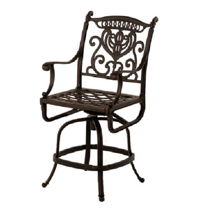 Peachy Grand Tuscany Cast Aluminum Swivel Counter Height Stool By Bralicious Painted Fabric Chair Ideas Braliciousco