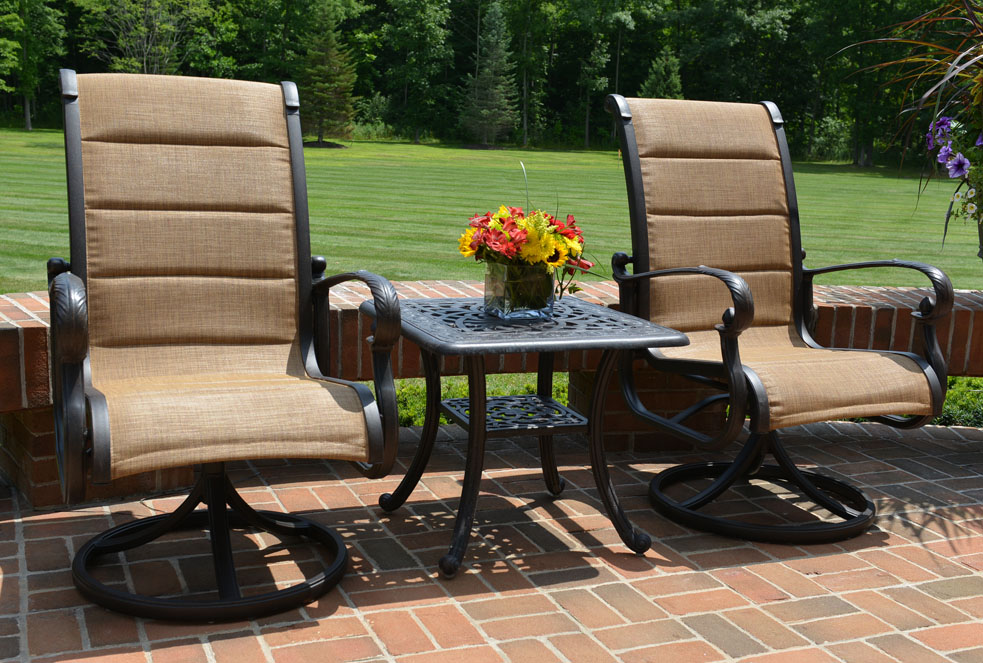 Cast aluminum furniture wicker deep seating patio for Back porch furniture sets