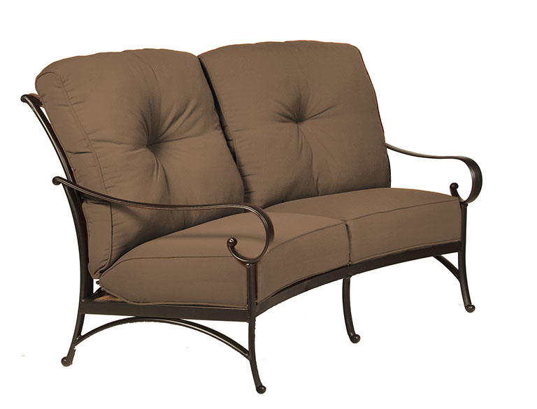 the santa barbara collection by alu mont cast aluminum crescent loveseat