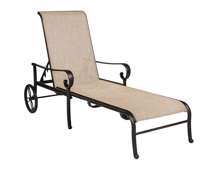 the santa barbara collection by alu mont cast aluminum sling chaise