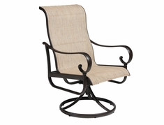 The Santa Barbara Collection By Alu-Mont Cast Aluminum Swivel Sling Dining Chair