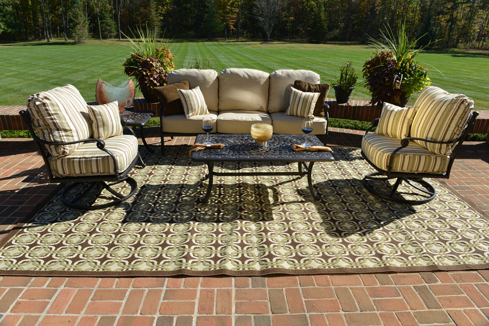 Serena 5 piece luxury cast aluminum patio furniture deep for Deep seating patio furniture