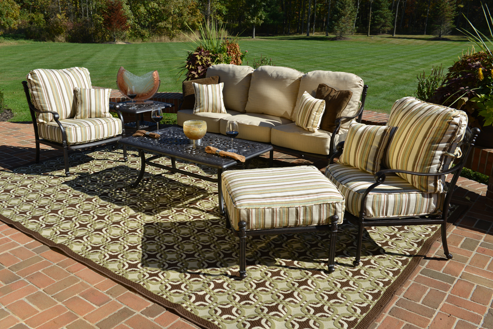Serena 6 Piece Luxury Cast Aluminum Patio Furniture Deep Seating Set  W/Stationary Chairs