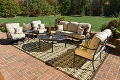 Serena 6-Piece Luxury Cast Aluminum Deep Seating Set W/Drink Table And Swivel Chairs