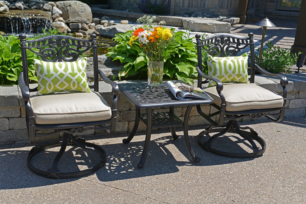 serena luxury 2 person all welded cast aluminum patio