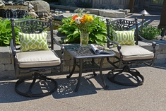 Serena Luxury 2-Person All Welded Cast Aluminum Patio Furniture Chat Set W/Swivel Chairs