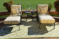 Serena 2-Person Luxury Cast Aluminum Patio Furniture Chat Set W/Stationary Chairs And Ottomans