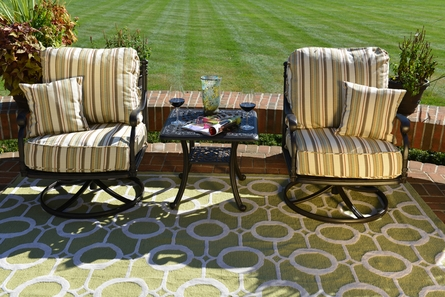 Serena 2-Person Luxury Cast Aluminum Patio Furniture Chat Set W/Swivel Chairs