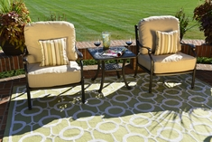 Serena 2-Person Luxury Cast Aluminum Patio Furniture Chat Set W/Stationary Chairs