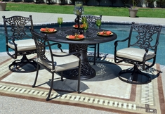 Serena Luxury 4-Person All Welded Cast Aluminum Patio Furniture Dining Set W/Swivel Chairs
