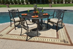 Serena Luxury 4-Person All Welded Cast Aluminum Patio Furniture Dining Set W/Stationary Chairs