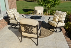 Serena 4-Person Luxury Cast Aluminum Patio Furniture Chat Set W/Fire Pit And Swivel Chairs