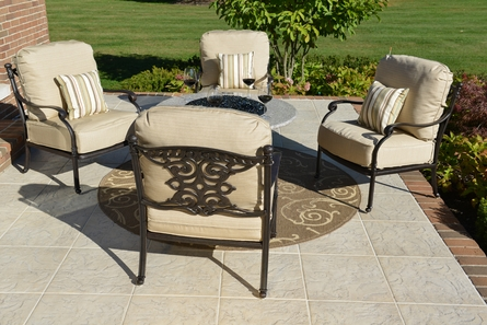 Serena 4-Person Luxury Cast Aluminum Patio Furniture Chat Set W/Fire Pit And Stationary Chairs