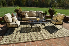 Serena 5-Piece Luxury Cast Aluminum Patio Furniture Deep Seating Set W/Stationary Chairs