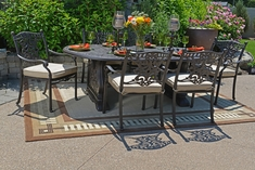 Serena Luxury 6-Person All Welded Cast Aluminum Patio Furniture Dining Set W/Stationary Chairs