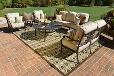 Serena 6-Piece Luxury Cast Aluminum Deep Seating Set W/Drink Table and Stationary Chairs