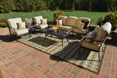 Serena 6-Piece Luxury Cast Aluminum Patio Furniture Deep Seating Set W/Stationary Chairs