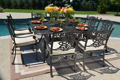 Serena Luxury 8-Person All Welded Cast Aluminum Patio Furniture Dining Set W/Square Table