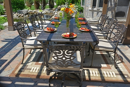 Serena Luxury 8-Person All Welded Cast Aluminum Patio Furniture Dining Set