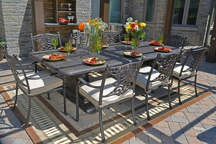 Serena Luxury 8 Person All Welded Cast Aluminum Patio Furniture Dining Set  W/Stationary Chairs
