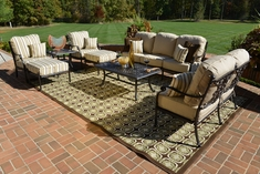 Serena 8-Piece Luxury Cast Aluminum Patio Furniture Deep Seating Set W/Stationary Chairs
