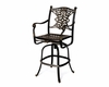 Serena Luxury Cast Aluminum Patio Furniture Swivel Bar Height Chair W/Cushion