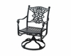 The Serena Collection Cast Aluminum Patio Furniture Swivel Dining Chair With Cushion