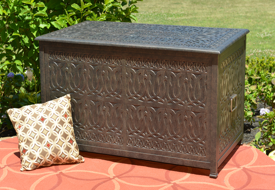 Tuscan luxury cast aluminum patio furniture storage box for Furniture box