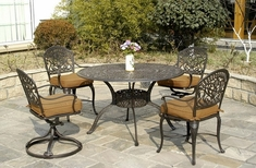 Tuscany By Hanamint Luxury Cast Aluminum 4-Person Dining Set W/Swivel Chairs